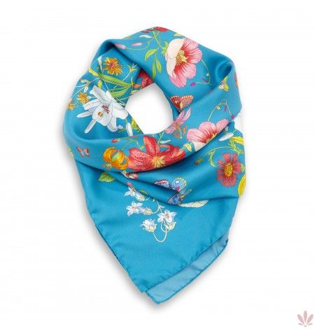 Elisabeth Turquoise Silk Scarf. Luxury high quality made in Italy by Fulards free shipping.