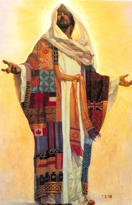 """Jesus -- """"Coat of Many Colors"""" with flags, fabrics, and symbols representing the cultures of the world."""