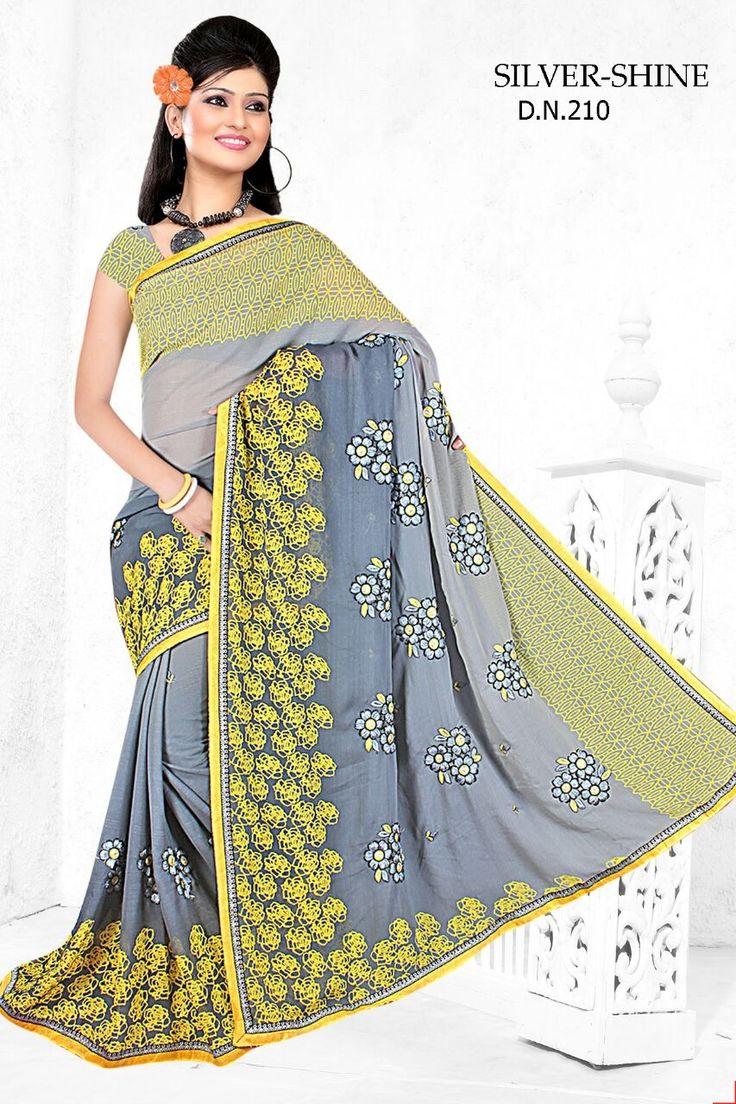 Sakshi Silver Shine Collection Designer Grey Colour Chiffon Saree available at Crazzy Bazaar.