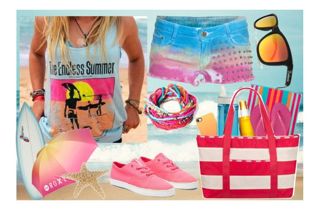 """""""Beach day !"""" by selenagomz ❤ liked on Polyvore featuring Mustache Brigade, Pull&Bear, Lauren Ralph Lauren, Supra, Roxy, Clarins, CamelBak, Havaianas and LeSportsac"""