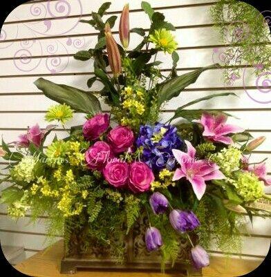 Large floral arrangement for Church -pulpit . | Easter ... |Large Spring Floral Arrangements