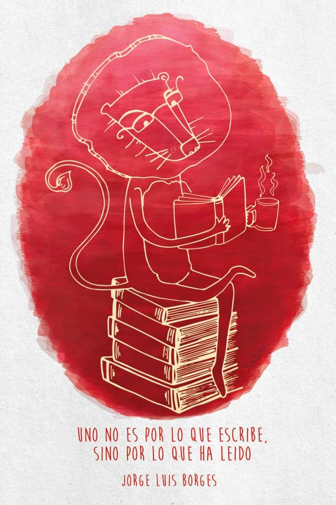 ilustración: Melisa Navarro - www.melisanavarro.com.ar      |        #Borges #illustration #books #reading #lion #coffee