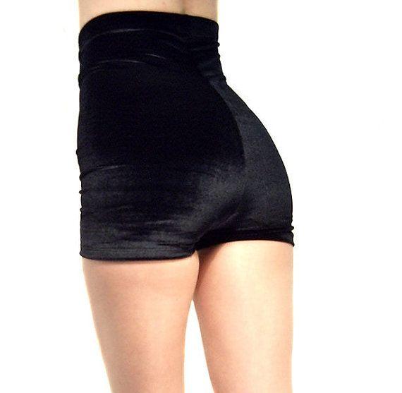 High waisted black velour shorts hot pants Goth