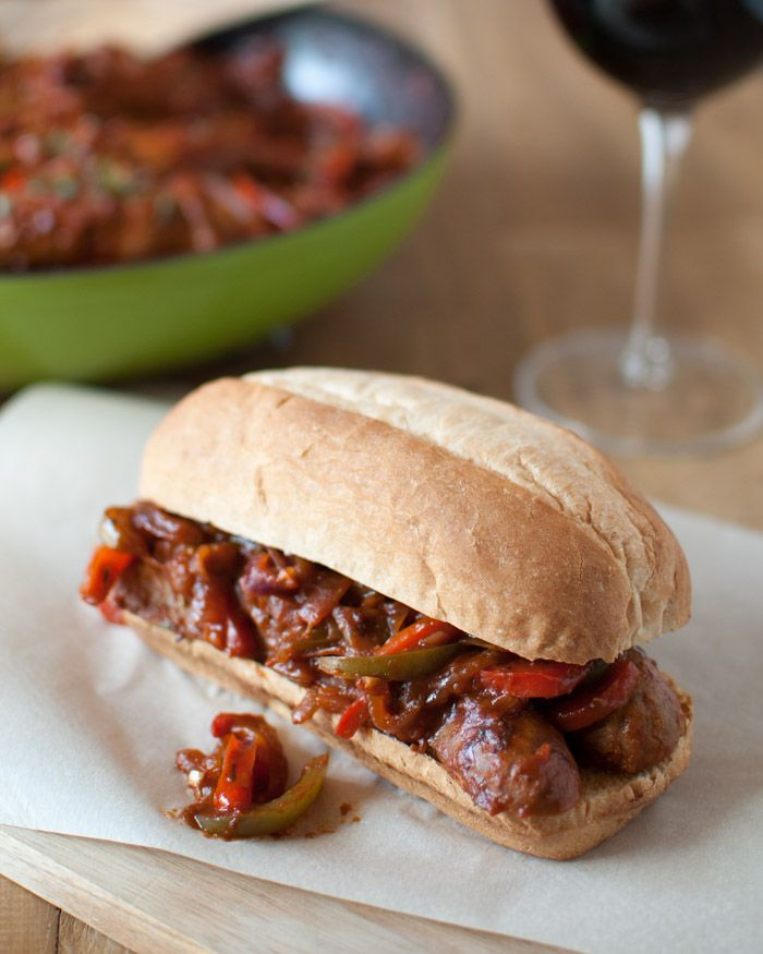 Italian Hot Sausage Sandwiches, sandwich, hot sausage, onion, peppers, tomato, herbs, wine