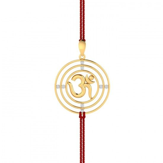 LOOPS AUM RAKHI PENDANT.Three concentric circles enclosing the divine Aum inside of it. Each of the loops are joined to each other through strategically placed diamonds that act as the connection between adjacent loops. This religious gold rakhi can also be worn as a pendant.#Rakhi #GoldRakhi #GoldandDiamond #RakhiCumPendant #RakhiGift #GiftforBrother #SpecialRakhiGift #RakshaBandhan #18thAugust #RakhiCelebration #BrotherSisterBond #OmRakhi  #Kuberbox #ShopRakhiOnline #OnlineJewellery