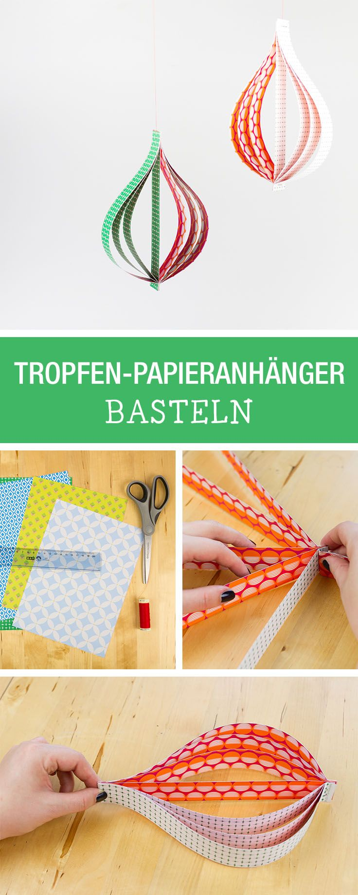 Baumschmuck basteln: Tropfen-Papieranhänger aus buntem Papier / christmas tree decoration made of colorful paper via DaWanda.com