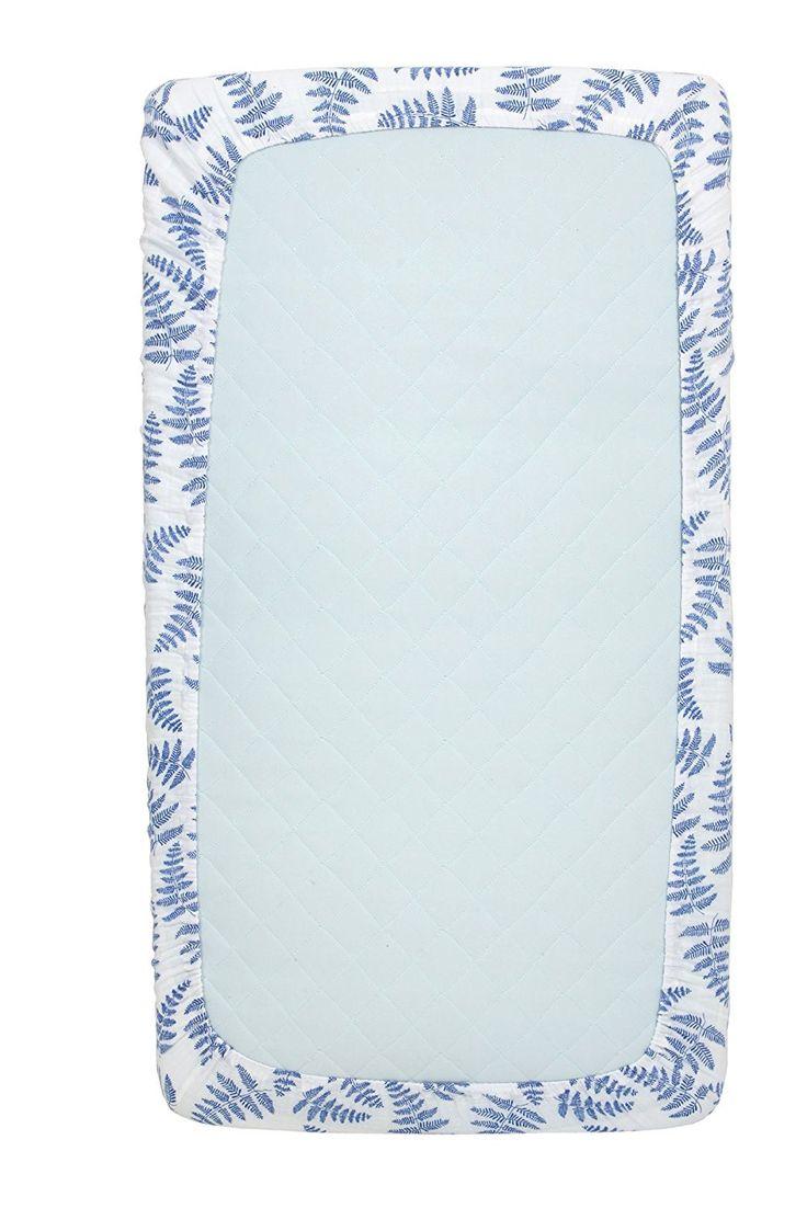 Muslin Cotton Fitted Crib Sheet - Blue Fern