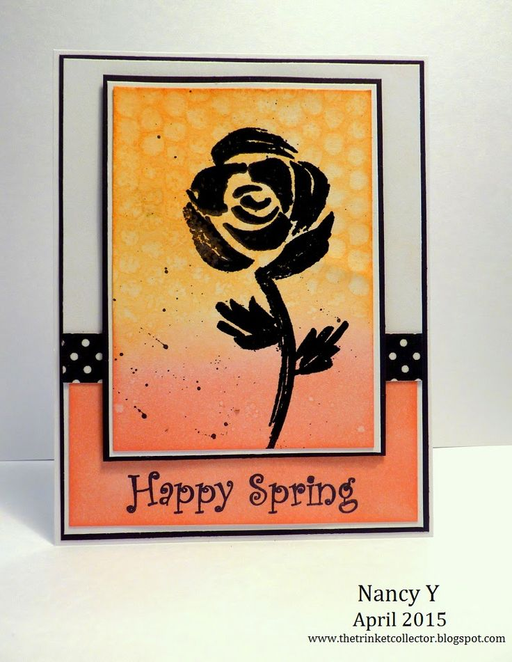Just For Fun Rubber Stamps ~ Spring Card ~ Brushed Rose