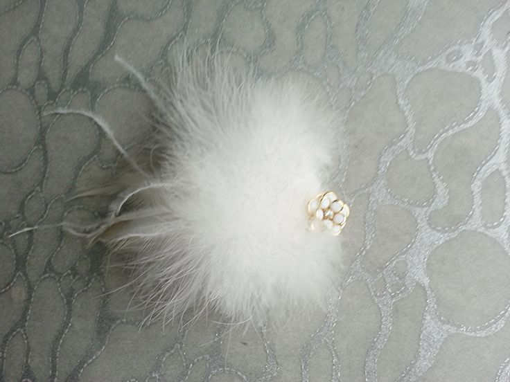 White Hair Clip / Brooch pin Dual Use Ostrich n Marabou feathers w White Gold Flower Rose w Crystal center - Wedding Bride Bridal Festival by MEDICINAdesigns on Etsy