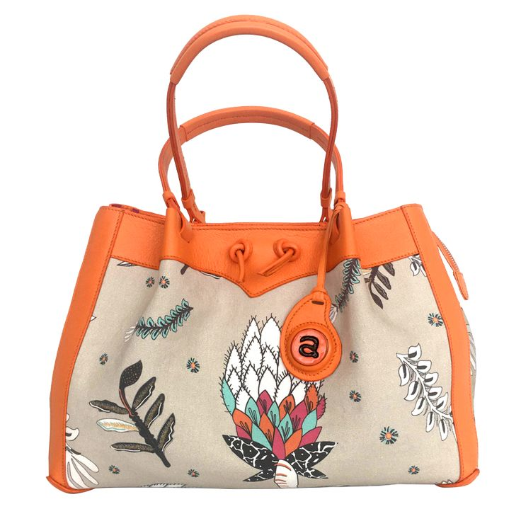 Ardmore Protea Fields Kingfisher Fabric Handbag with Orange Leather Trim. 26cm Height x 38cm Width x 18cm Depth.