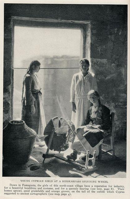 Cyprus 1928 girls spinning wheel | Flickr - Photo Sharing!