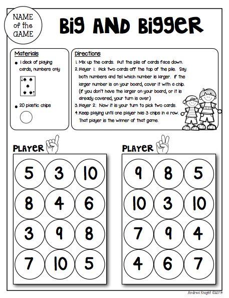 Math Games for Kindergarten (Low-Prep Reusable Games for ...