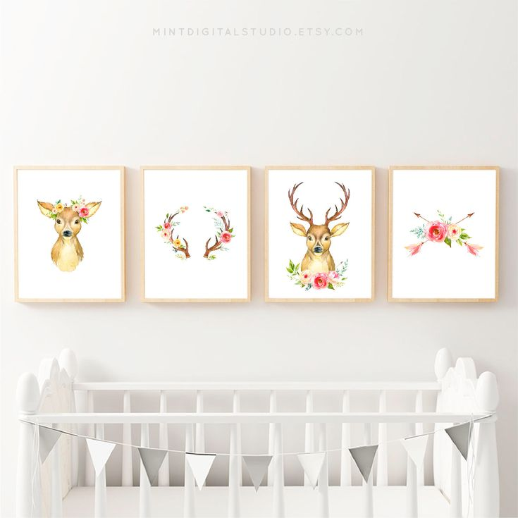 Add a boho chic flavor to any girl nursery room with this gorgeous set of four printable floral deer art prints! Floral Deer Nursery Art, Blush Nursery, Deer Nursery Decor, Boho Girl Wall Decor, Forest Art Nursery, Nursery Deer Art, Deer Art For Nursery from MintDigitalStudio on Etsy. #babygift #babygirl #babyshowergift #girlsbedroom #etsygifts #etsyhandmade