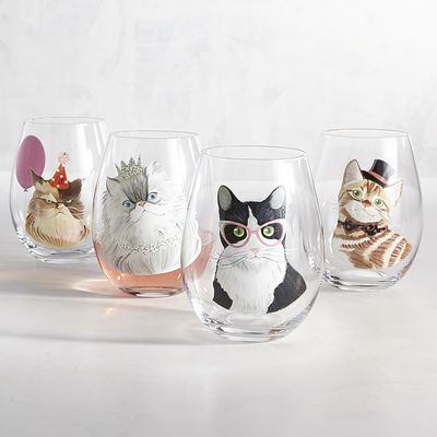 Invite these festive felines over for your next party. Each stemless goblet is made of soda lime glass with a kitty to match every guest's personality.