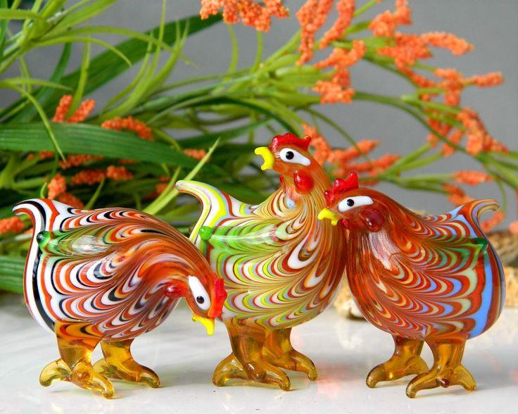 designer wedding bands Rainbow Swirl Blown Glass Chickens