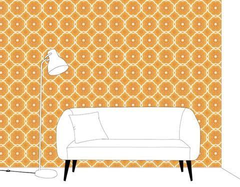 Geometric - Orange & White