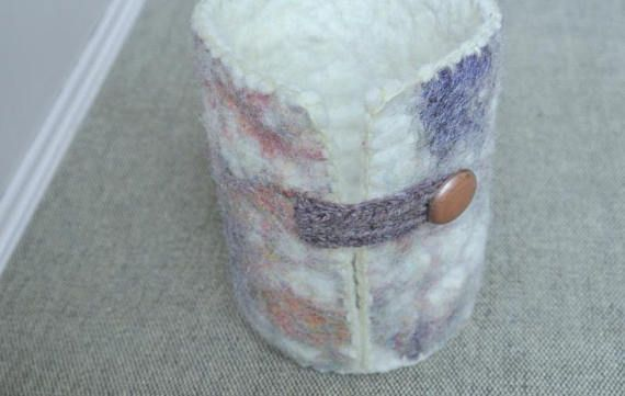 Lilac Felt Coffee Cup Warmer With White Edge and Dark Lilac