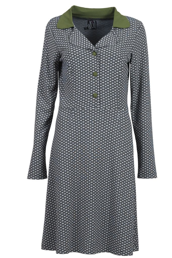 The Iben dress is also available in a harlequin pattern combined with a green collar and buttons.
