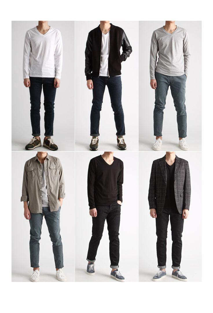 기본 브이넥 무지 긴팔티(9컬러)-vneck03 - [존클락]30대 남자옷쇼핑몰, 깔끔한 캐쥬얼 데일리룩, 추천코디