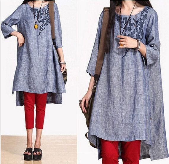 Loose linen embroidered dress Loose Fitting Soft Cotton Long Shirt Blouse for Women - long dress- tank - coat -Women Clothing (366)