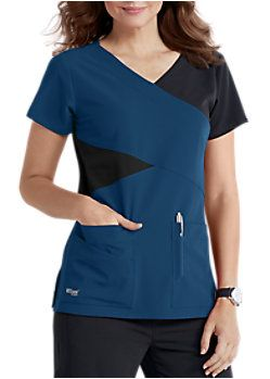e525c89258b Grey's Anatomy Signature 4 Pocket Mock Wrap Color Block Scrub Tops ...