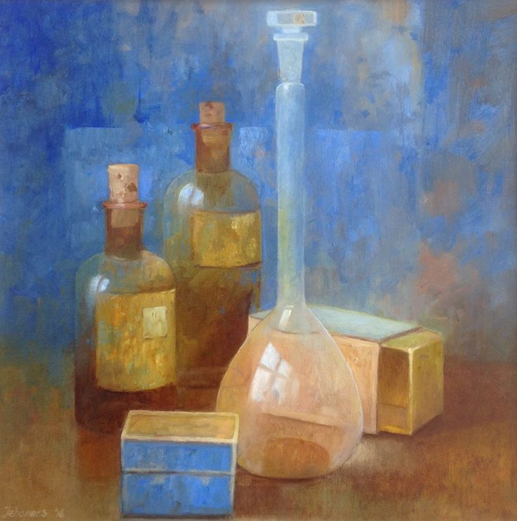 Flesjes olieverf op paneel 40 x 40 cm Jehannes Hoogeveen 2016