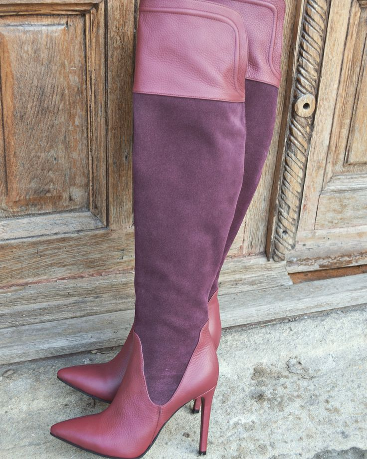 Light Marsala Over The Knee Boots  #the5thelementshoes #marsala #leather #overtheknee #boots #rockthiscity #rosettishowroom