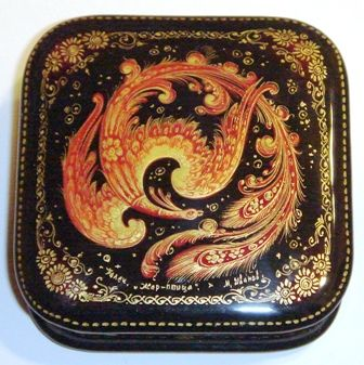 Russian lacquer box of The Phoenix