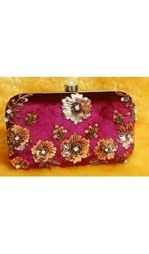 Women's Embroidery Work Pink Color Fashion Clutch Purse | FH10351409 Follow Us @heenastyle  #Embroidery #Clutch #Fashion #Bags #Online #Clutchbag #BagsOnline #OnlineShopping #Heenastyle