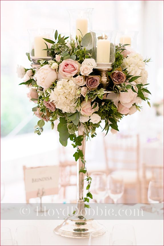 Candelabra Centrepiece Wedding Table Arrangement Blush Pink And Ivory Flowers