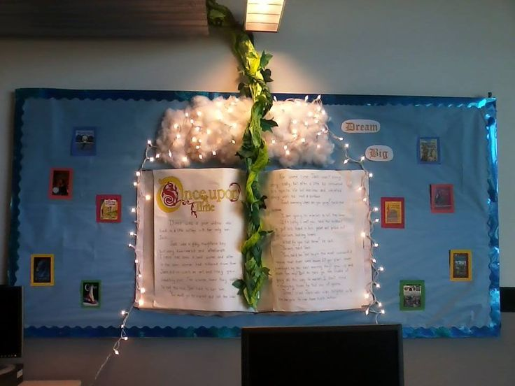"""I finally made my dream bulletin board!  The giant book has the first few paragraphs of """"Jack and The Beanstalk"""" written on it."""