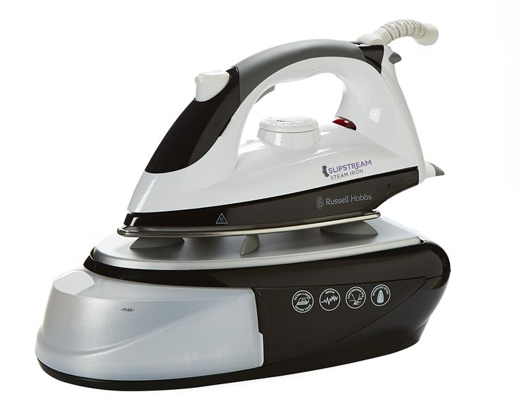 Russell Hobbs 1800W Steam Generator Iron  Steam rate: 40gm/min max, 1 litre capacity water tank - Less time spent refilling, vertical steam, continuous steam function, adjustable thermostatic control, detachable water tank with water inlet for anytime refilling, stainless steel soleplate, overheat protection circuit, anti-slip iron rest, soft-grip handle, lightweight, compact easy store design