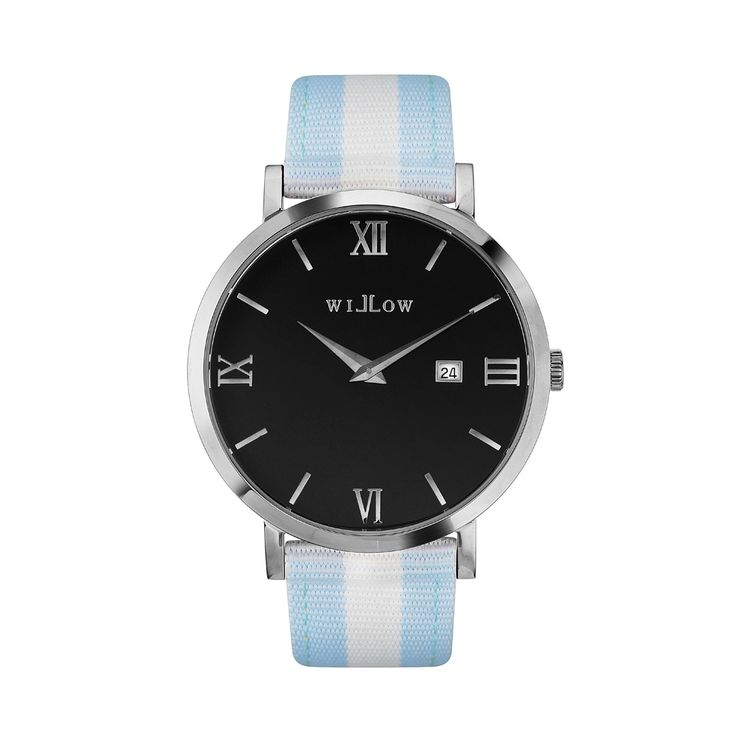 Treviso Silver Watch & Interchangeable Baby Blue & White NATO Strap.