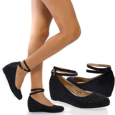 Women Black Ankle Strap Mary Jane Rhinestone Wedge Low Heel Pump Party Shoes 9