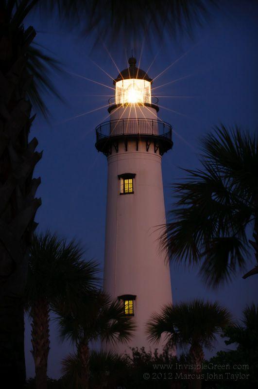 lighthouse on St. Simons Island, surrounded by palm trees. Brunswick, Georgia.