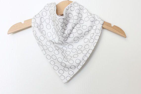 Organic Cotton Baby Bandana Bib  Bubbles Grey  by raenne on Etsy, $14.00