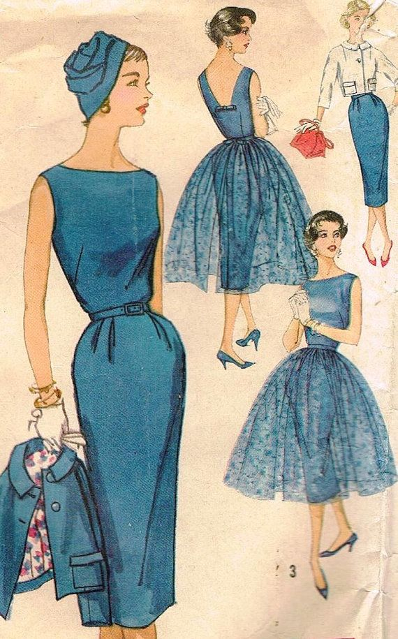 40s Sleeveless Sheath Dress Simplicity 2370 Pattern Vintage Jr Party Audrey Style Jacket Overskirt Lace Evening Dress Size 16 Bust 36. $25.00, via Etsy.