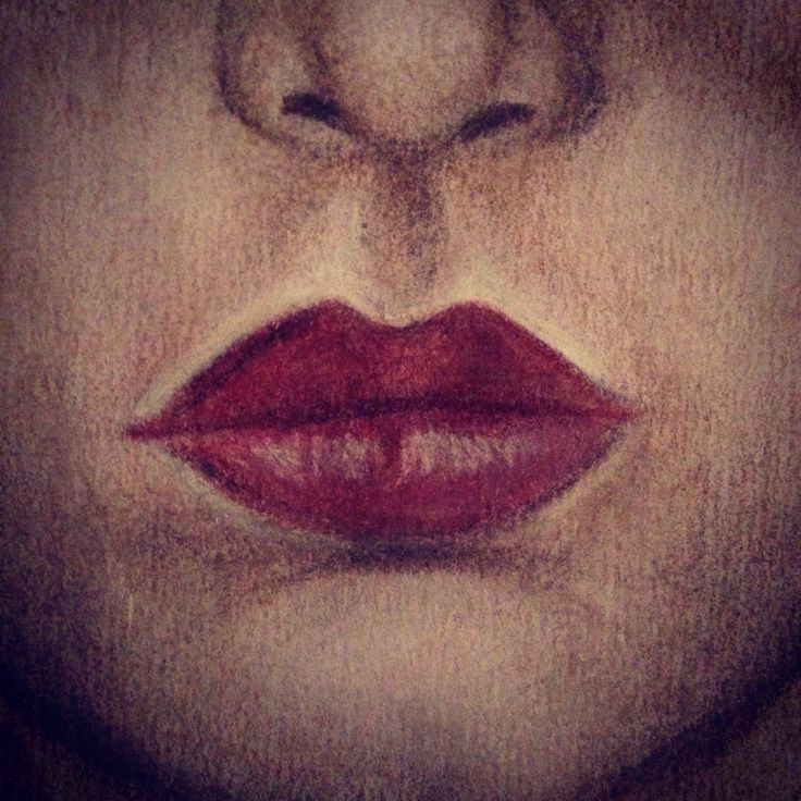 Drawing red lips, art by Hall