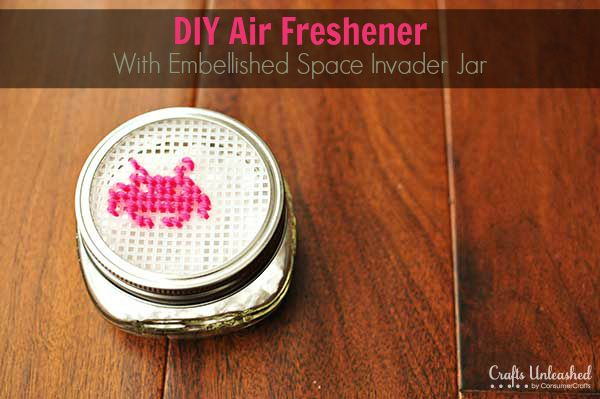 Plastic Canvas Challenge: Homemade Air Freshener Mason Jar - don't necessarily want the space invader on there, but this is a good idea...