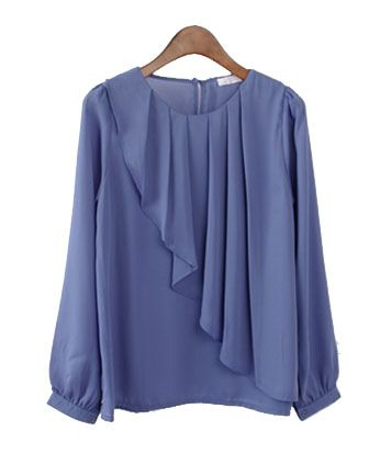 Collarless Chiffon Shirt with Pleat Front Details
