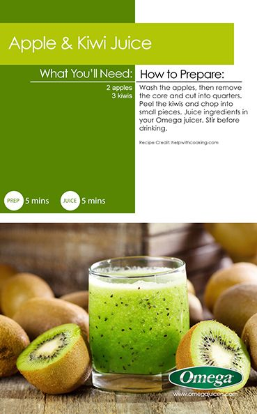 Delicious Summer Juice Recipe 5 - Apple & Kiwi Juice - Delicious with Omega Juicers!