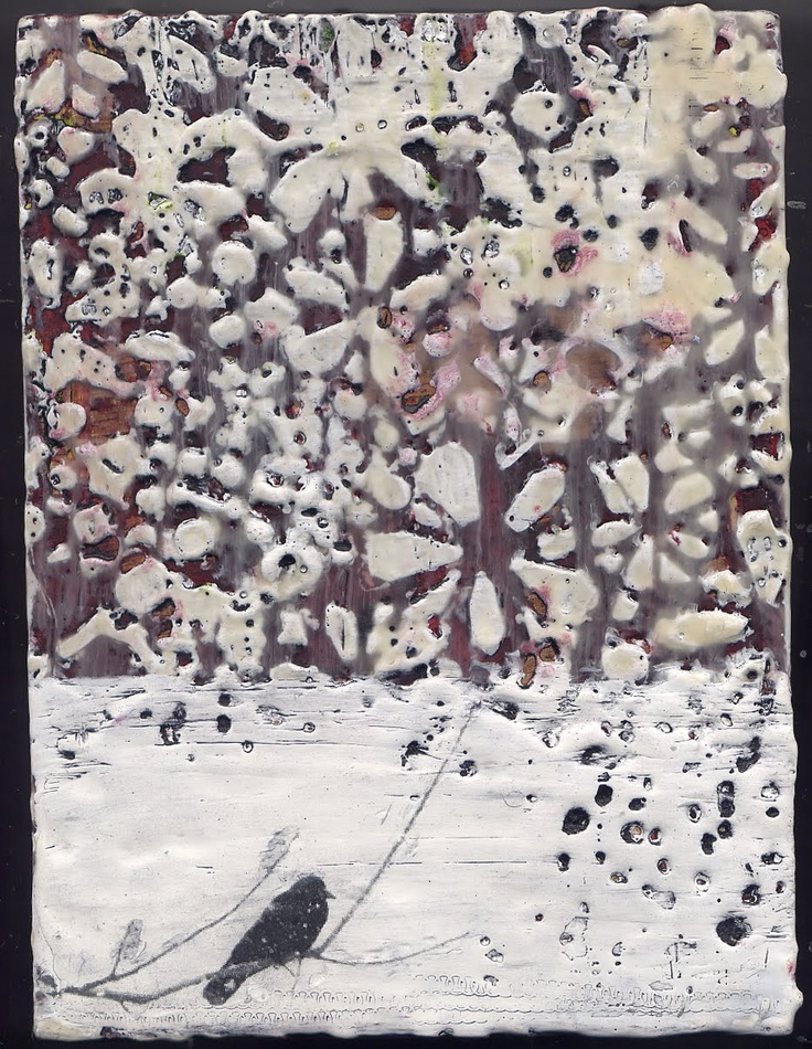 Dawn Nielson | unknown title | encaustic and photo transfer on panel /sm