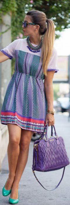 Vestito Colorato E La Miu Miu Miu Viola - Fashion Blogger