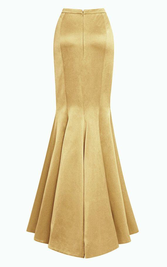 Floor length maxi Crepe Satin skirt Paneled skirt by Gorgones, €220.00