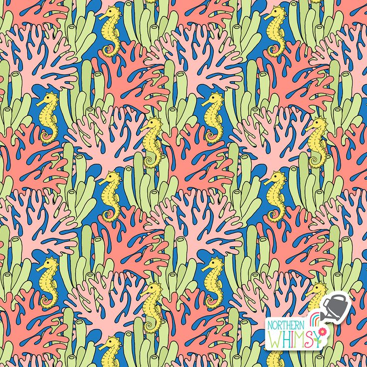 A closer look at a coral and seahorse pattern from Northern Whimsy's Coral Reef collection.