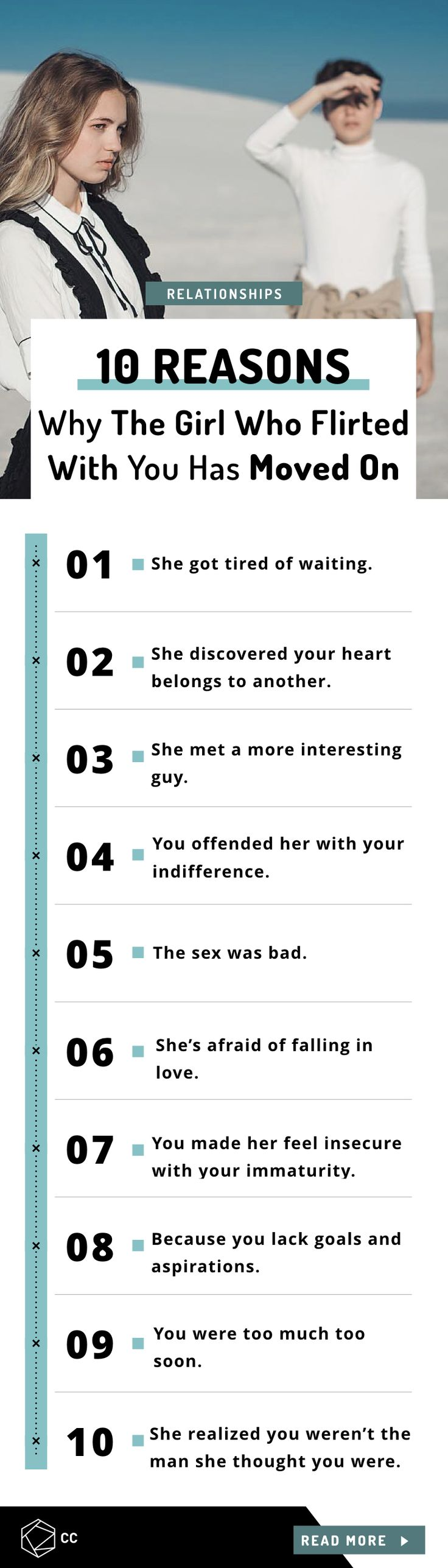 10 Reasons Why The Girl Who Flirted With You Has Moved On.   Relationship advice for guys.