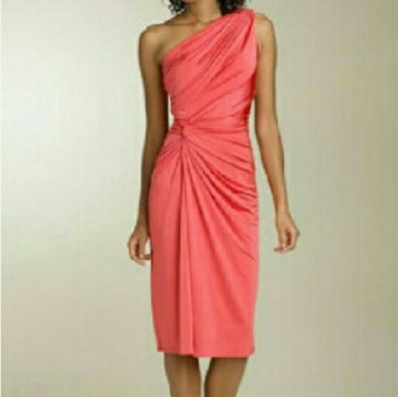 Tadashi coral red carpet featured dress Form flattering  and thick fabric makes this  dress look stunning. Very comfortable and easy peice to wear. Tadashi Shoji Dresses Midi