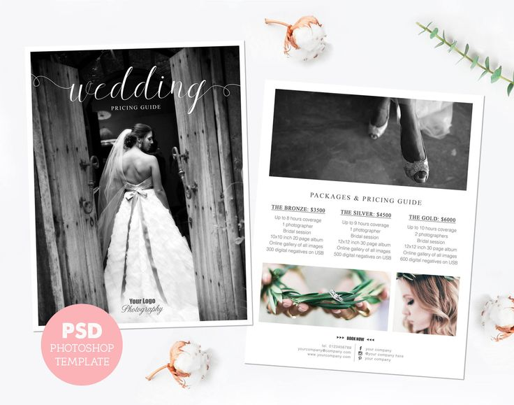 Pricing template. Wedding photography price list. Marketing & advertising template pricing guide. Fully editable Photoshop PSD files. PLT004 by PenguinGraphics on Etsy