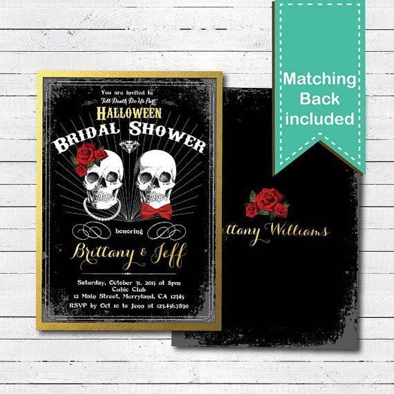 Halloween bridal shower invitation. Vintage rustic black and
