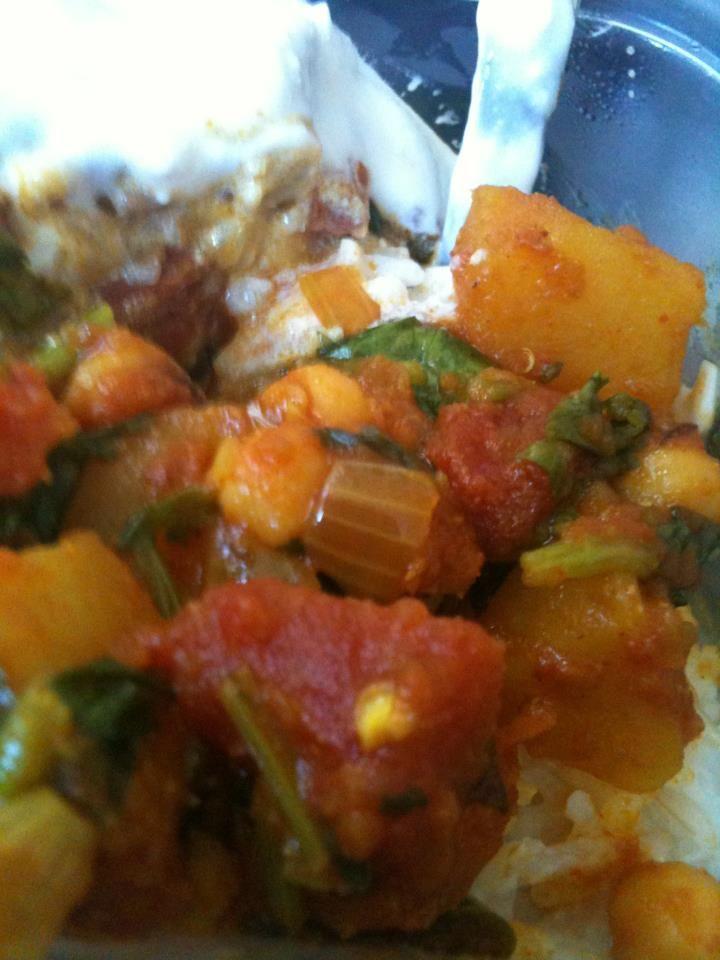"Alu Chhole - Hindi for ""potato chickpea"". A tomato based curry with chilis and cilantro."